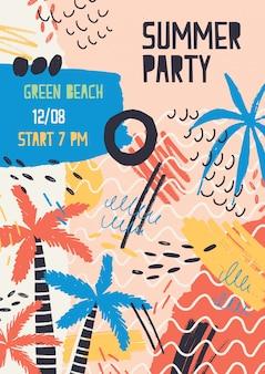 Kreatywny szablon plakatu ozdobiony palmami w dżungli, plamami i bazgrołami na letnie przyjęcie na plaży lub festiwal na świeżym powietrzu.