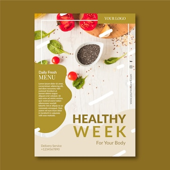 Kreatywny szablon plakatu restauracji zdrowej żywności ze zdjęciem