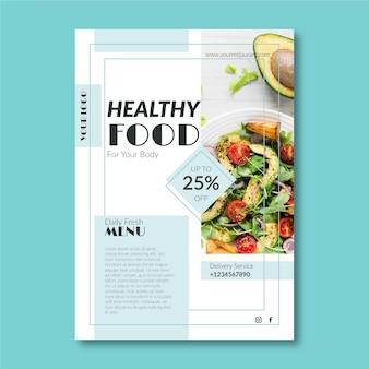Kreatywny szablon plakatu restauracji zdrowej żywności
