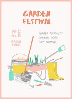 Kreatywny szablon plakatu z narzędziami ogrodniczymi i miejscem na tekst