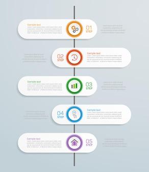 Kreatywny szablon projektu infografiki z 5 krokami