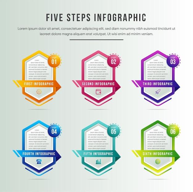 Kreatywny szablon projektu infografiki z 6 sześciokątnymi elementami, strzałkami, kolorowymi kołami i sześciokątną przestrzenią na pola tekstowe. sześć kroków koncepcji rozwoju projektu biznesowego.