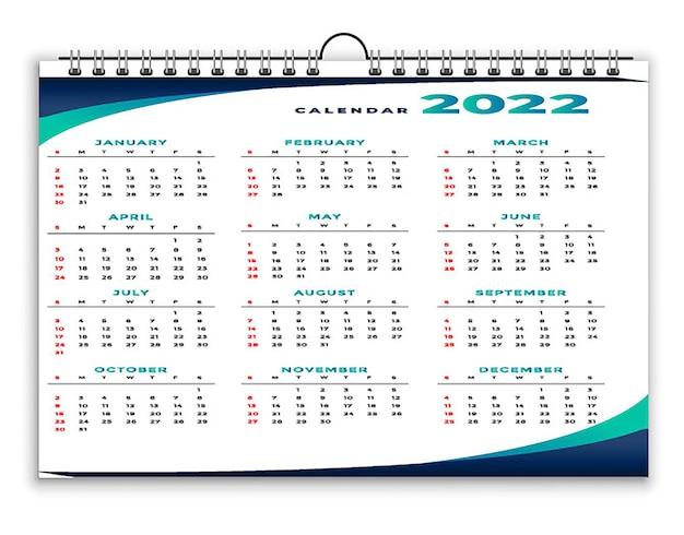 Kreatywny szablon projektu kalendarza czarno-żółtego 2022