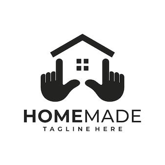 Kreatywny szablon projektu logo domu i ręki