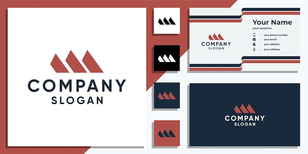 Kreatywny szablon projektu logo litery m i wizytówka