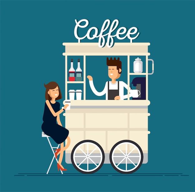 Kreatywny szczegółowy koszyk uliczny lub sklep z ekspresem do kawy, butelkami syropu, filiżankami jednorazowymi i ze sprzedawcą. młodzi ludzie piją kawę.