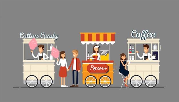 Kreatywny szczegółowy sklep z kawą uliczną, popcornem i watą cukrową ze sprzedawcami.