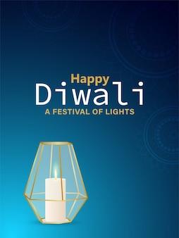 Kreatywny szczęśliwy festiwal światła diwali z realistyczną latarnią