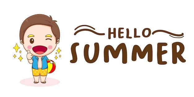 Kreatywny sztandar ładny chłopiec z pozdrowieniami letnimi