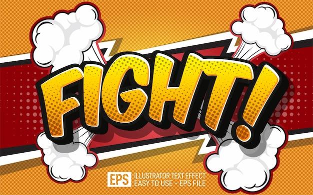 Kreatywny tekst w stylu komiksowym walka, edytowalny szablon efektu stylu