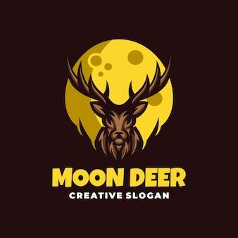 Kreatywny unikalny szablon logo jelenia i księżyca na ciemnym tle