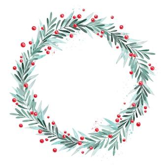Kreatywny wieniec bożonarodzeniowy akwarela