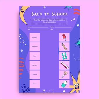 Kreatywny zabawny arkusz z powrotem do szkoły