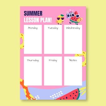 Kreatywny zabawny szablon planu lekcji na sezon letni