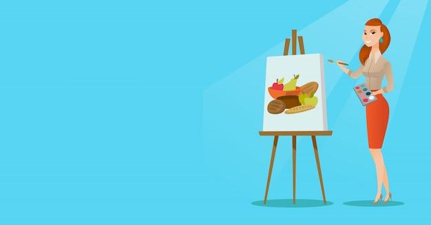 Kreatywny żeński artysty obrazu portret.