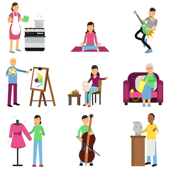 Kreatywny zestaw dorosłych osób i ich hobby. gotowanie, malowanie, gra na gitarze i basie, haftowanie, dzianie, szycie, rzeźbienie. mieszkanie