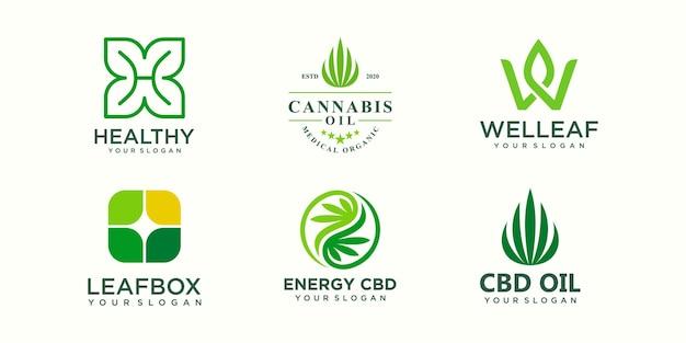 Kreatywny zestaw ikon logo konopi marihuany szablon wektor