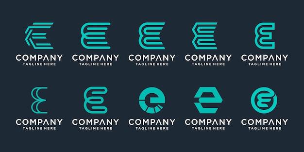 Kreatywny zestaw ikon logo litery e dla biznesu technologii sportowej proste