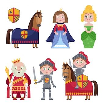 Kreatywny zestaw średniowiecznych postaci