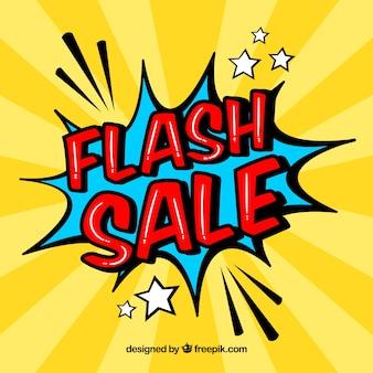 Kreatywny żółty projekt sprzedaży flash w stylu komiksu
