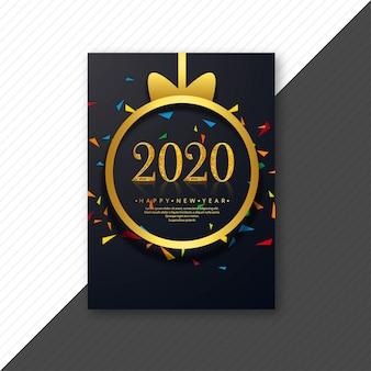 Kreatywnych 2020 szczęśliwego nowego roku szablon karty