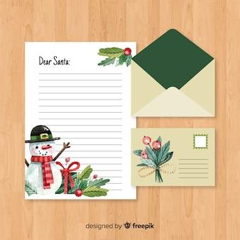 Kreatywnych koperty boże narodzenie i list w akwarela projekt