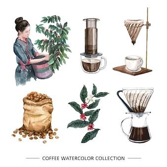 Kreatywnych na białym tle akwarela kroplówki kawy