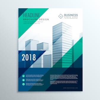 Kreatywnych niebieski projekt broszury szablonu z abstrakcyjnymi niebieskimi liniami