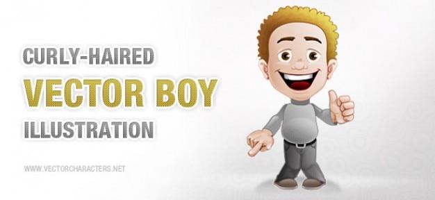 Kręcone haired boy znak wektora