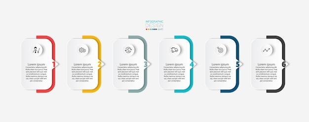 Kręcone prostokąty wyjaśnione krok po kroku przedstawiają wyniki projektu infografiki z różnymi liniami