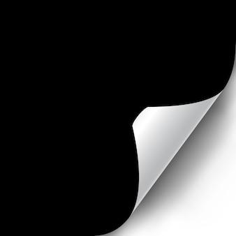 Kręcone rogu strony realistyczne ilustracja z przezroczystym cieniem. gotowy do zastosowania w twoim projekcie. element graficzny do dokumentów, szablonów, plakatów, ulotek. ilustracja wektorowa