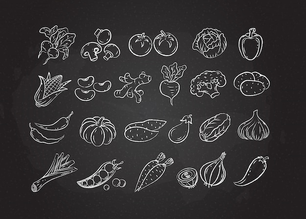 Kreda biała linia szkic warzywo et