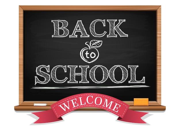 Kredą na tablicy. powrót do szkoły. witamy. powrót do tła szkolnego. czarna tablica. ilustracja wektorowa
