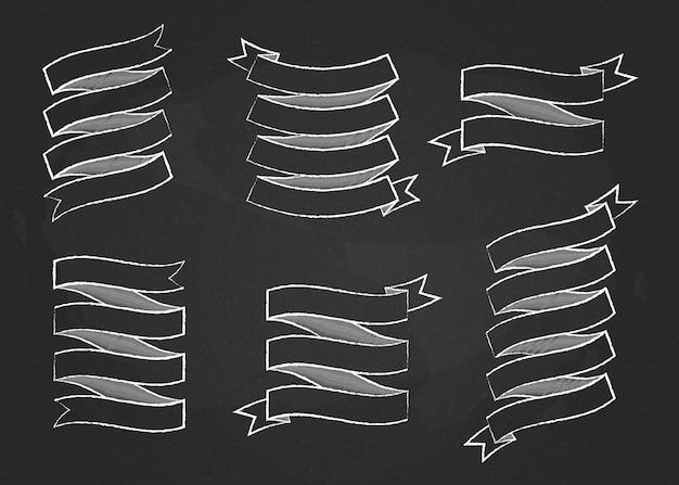 Kreda obrys wstążka szablon transparent wektor kolekcja ilustracja kreda styl zakrzywiony kształt biały
