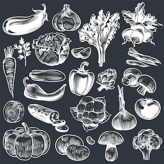 Kreda rysunek warzyw. różne rocznika ręcznie rysowane warzyw, organiczne marchew brokuły bakłażan, kapusta i grzyby, rolnictwo żywności. szkic wektor ustawiony na tablicy