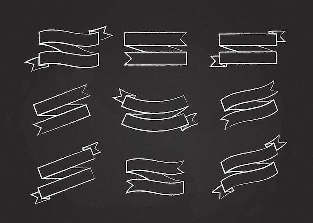 Kreda zarys wstążki szablon transparent wektor kolekcja ilustracja kreda styl płaski zakrzywiony kształt