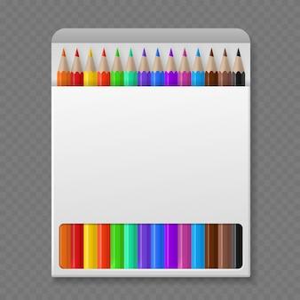 Kredka w pudełku. kolorowe kredki drewniane w makiecie opakowań, narzędzia biurowe