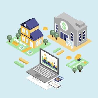 Kredyt bankowy i koncepcja kredytu mieszkaniowego z domu izometryczny