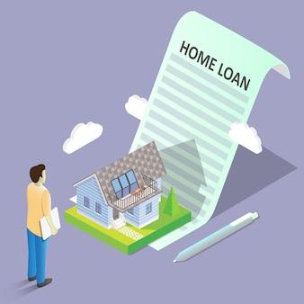 Kredyt mieszkaniowy pojęcia wektorowa isometric ilustracja