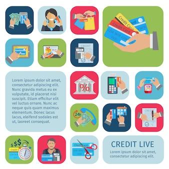 Kredytowe życie dekoracyjne ikony płaski zestaw z planowania płatności rachunki finansowe i symbole długu na białym tle