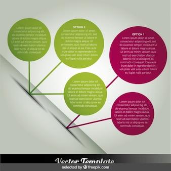 Kręgi infographic w pozycji przekątnej