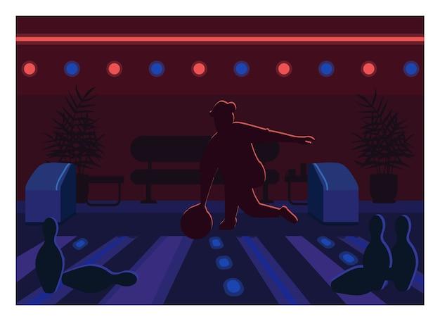 Kręgielnia w płaskim kolorze. uderzenie osoby piłką na torze. weekendowa zabawa rekreacyjna. uprawiać sport. melonik 2d postać z kreskówki z wnętrzem centrum gier na tle
