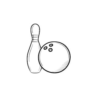Kręgle ręcznie rysowane konspektu doodle ikona. szpilki i piłka do kręgli szkic ilustracji wektorowych do druku, sieci web, mobile i infografiki na białym tle.