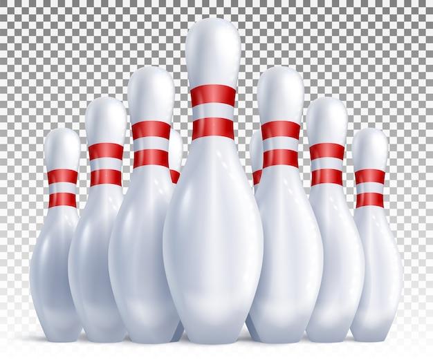 Kręgle rozmieszczone na widok gry i turnieju z przodu.