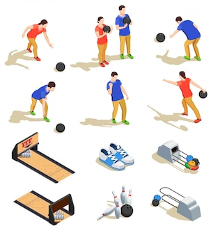 Kręgle zestaw ikon izometryczny ze sprzętem sportowym i drużyny graczy podczas gry na białym tle