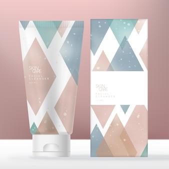 Krem do rąk lub środek do mycia twarzy beauty health lub opakowanie tubki medycznej z pastelowym wzorem w diamenty
