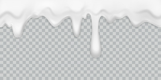 Krem ociekający. jogurt mleczny zalewając białą śmietaną granicę z kroplami pić deser majonezowy przepływ izolowany kremowy