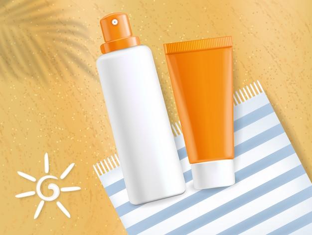 Krem przeciwsłoneczny realistyczny, spray i krem do twarzy na białym tle, transparent piasek, kosmetyki ochrony, ilustracja
