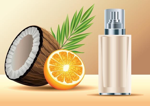 Kremowa butelka w sprayu do pielęgnacji skóry z ilustracją kokosa i pomarańczy