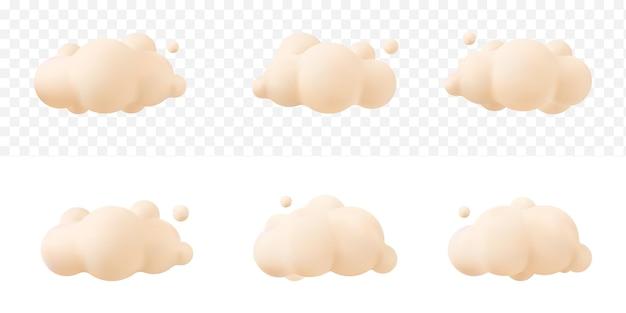 Kremowe 3d realistyczne chmury zestaw na białym tle na przezroczystym tle. renderuj miękkie okrągłe kreskówki puszyste chmury ikona na niebie. 3d geometryczne kształty ilustracji wektorowych